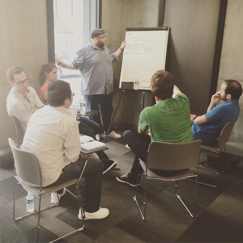 Une partie de l'équipe R&D pendant l'atelier Swarm