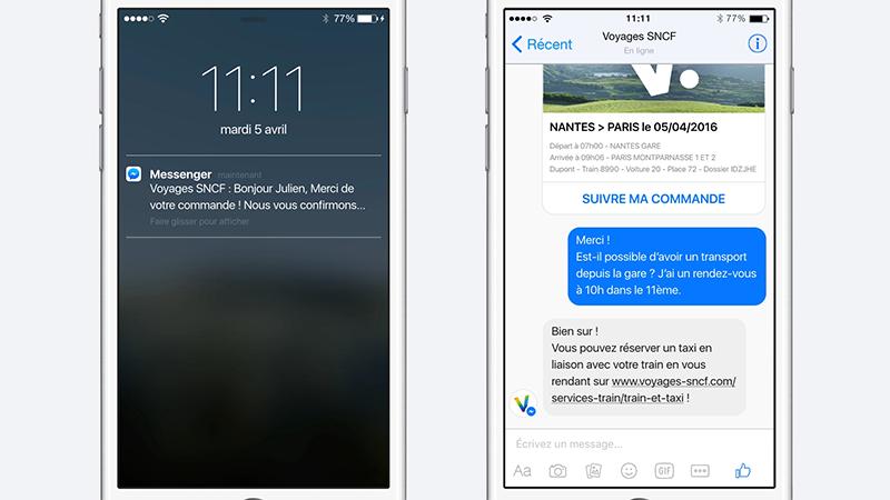 Les utilisateurs de Messenger reçoivent alors une notification
