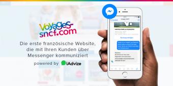 Dank iAdvize, kommuniziert Voyages-sncf.com über Facebook Messenger mit seinen Kunden