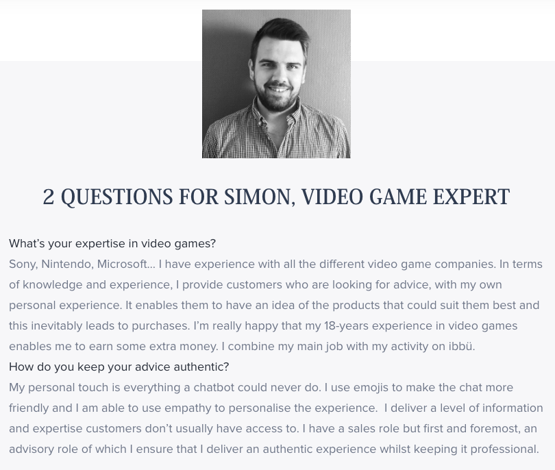 What is conversation video game expert iadvize