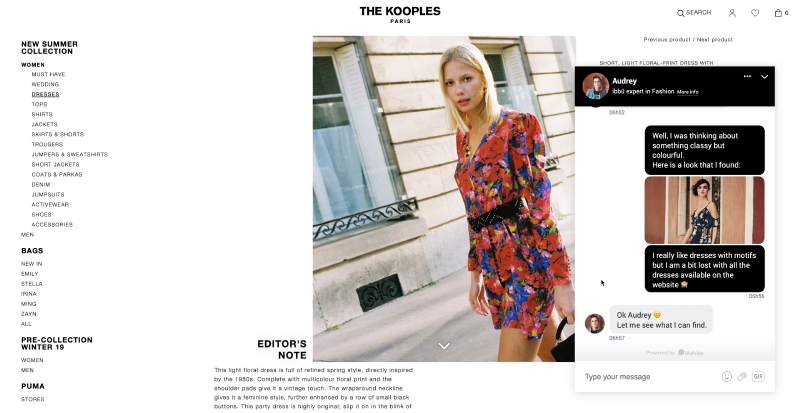 Conversational Tools Mix the kooples chat iAdvize