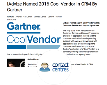 IAdvize Named 2016 Cool Vendor In CRM By Gartner